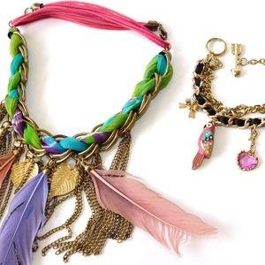 BETSEY JOHNSON Parrot Bracelet+Feather Necklace